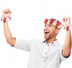 Hawaii-Party Kopfschmuck und Armbänder Kostüm-Accessoire 3-teilig rot-weiss
