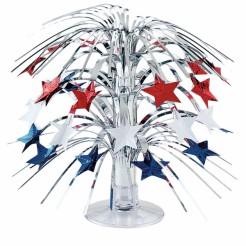 USA-Tischdekoration Tischschmuck mit Sternen Amerika-Deko silber-rot-blau 21,5cm