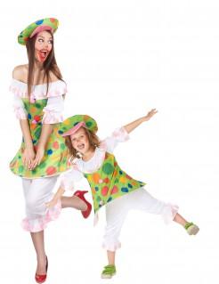 Buntes Mutter Tochter Paarkostüm Clown bunt