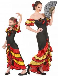 Flamenco-Tänzerinnen - Paarkostüm für Mutter und Tochter schwarz-gelb-rot