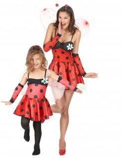 Marienkäfer-Paarkostüm für Mutter und Tochter rot-schwarz