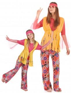 Hippie-Kostüm für Mutter und Tochter bunt
