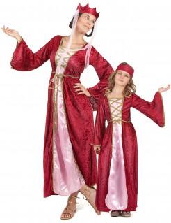 Mittelalterkönigin Paarkostüm für Mutter und Tochter Karneval rot-rosa