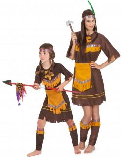 Indianerinnen-Kostüm für Mutter und Tochter braun-gelb