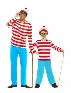 Wo ist Walter - Paarkostüm für Vater und Sohn rot-weiß und hellblau