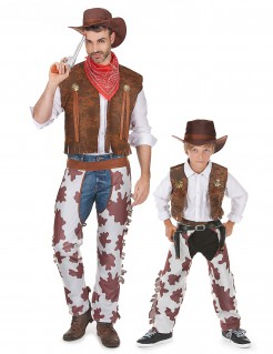 Cowboy Paarkostüm für Vater und Sohn braun-weiss