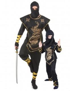 Goldener Ninja-Paarkostüm für Vater und Sohn schwarz-gold