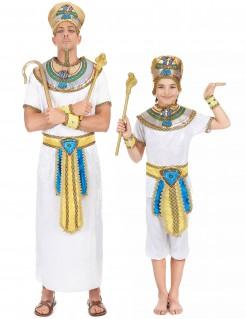 Pharaonen-Kostüm für Vater und Sohn Weiß mit Gold