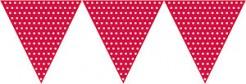 Papier-Girlande Wimpelgirlande mit Polka Dots rot-weiss 2,7m