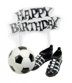 Fussball-Kuchendeko Happy Birthday 3-teilig schwarz-weiss