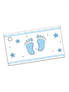 Etiketten Baby-Füße 10 Stück weiss-blau 9 x 2,5cm