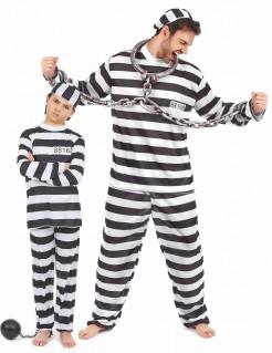 Gefangenen-Paarkostüm für Vater und Sohn schwarz-weiß