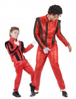 Popstar-Paarkostüm für Vater und Sohn rot-schwarz