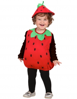 Süsse Erdbeere Kinderkostüm Obst rot-grün