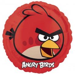 Angry-Birds-Luftballon Roter Angry Bird mit Hintergrund Lizenzartikel rot-gelb-schwarz 45cm
