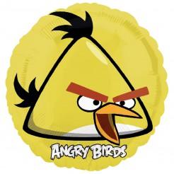 Angry-Birds-Luftballon Gelber Angry Bird Chuck mit Hintergrund Lizenzartikel gelb-schwarz-weiss 45cm