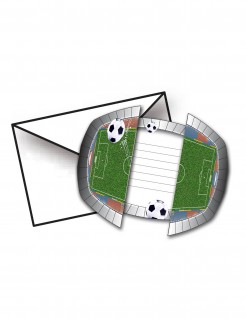 Fussball Einladungskarten Stadion 8 Stück grün-schwarz-weiss 15x10cm