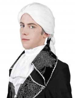 Barock-Perücke mit Zopf Kostüm-Accessoire weiss
