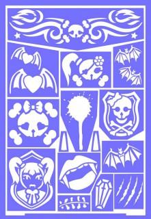 Grim'tout-Schminkschablone mit Gothic-Mädchen-Motiv lila 21x15cm