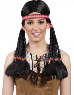 Indianer-Perücke mit Stirnband für Damen