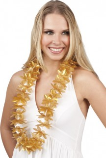 Hawaii Blumen-Kette Kostüm-Accessoire gold