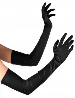 Edle Handschuhe Kostüm-Accessoire lang schwarz