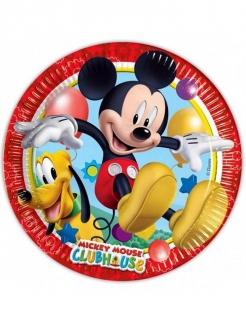 Mickey Mouse Partyteller mit Micky und Pluto Disney-Lizenzartikel 8 Stück bunt 23cm