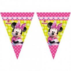 Minnie Maus Girlande Wimpelgirlande Disney-Lizenzartikel pink-grün 3m