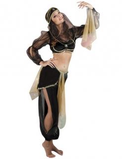 Orientalisches Bauchtanz-Kostüm für Damen schwarz