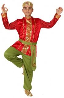 Indischer Junge - hochwertiges Kostüm in Grün und Rot mit Verzierungen in Gold