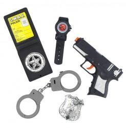 Polizei Polizist Polizistin Kostüm Set 5-teilig schwarz-grau