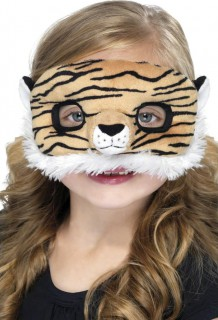 Tiger-Kindermaske Plüsch-Raubkatzenmaske orange-schwarz-weiss