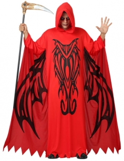 Bodenlanges Halloween Dämonen-Kostüm rot-schwarz