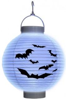 Halloween Laterne Fledermaus weiss-schwarz 20cm