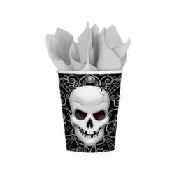 Pappbecher Totenkopf Halloween-Party Deko 6 Stück schwarz-weiss 266ml
