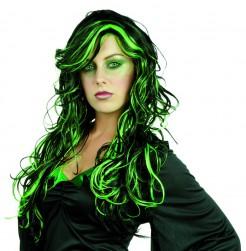 Lange Halloween Hexen-Perücke schwarz-grün