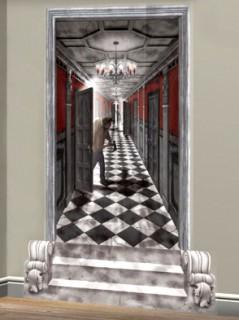 Barockes Geisterschloss Korridor Halloween Wanddeko-Folie bunt 85x165cm