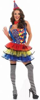 Verführerische Clowndame Karnevalkostüm bunt