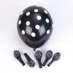 Luftballons mit Punkten 6 Stück schwarz-weiss