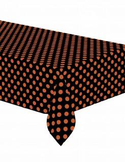 Halloween Tischdecke schwarz mit orangenen Punkten137 x 274 cm