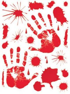 Blut-Aufkleber blutige Fenstersticker 23-teilig rot