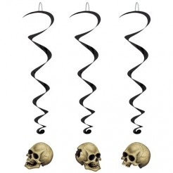 Skelett Totenschädel Spiralen Halloween Party-Deko 5 Stück bunt 102cm