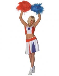 Amerikanisches Cheerleader-Kostüm für Frauen - blau-weiß-rot