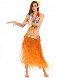 Hawaii Rock Bastrock mit Blüten orange 73cm
