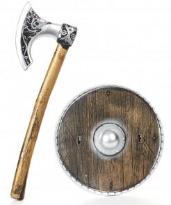 Wikinger Waffen-Set Axt und Schild für Kinder braun-grau