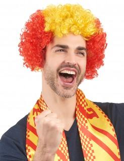 Spanien-Perücke Spanien-Fanartikel Afroperücke gelb-rot