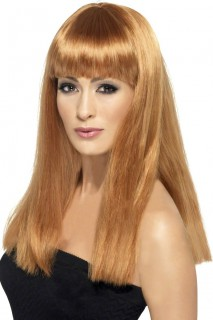 Langhaar-Damenperücke mit glatten Haaren und Pony karamellbraun