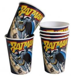 Batman-Becher Fliegender Batman Superhelden-Pappbecher DC-Lizenzartikel 6 Stück schwarz-gelb-grau 250ml