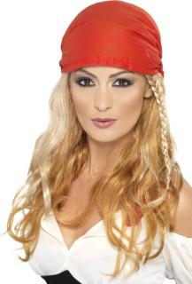 Piraten-Damenperücke Langhaar-Perücke mit Kopftuch und Haarschmuck blond-rot