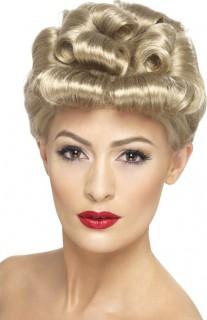 Retro-Perücke 50er-Jahre-Damenperücke Aufgerollte Locken blond